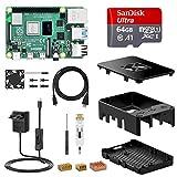 NinkBox Raspberry Pi 4 Modello B Starter Kit, RPi Barebone 4GB RAM + MicroSD 64GB, Alimentatore 5.1V / 3A con Interruttore, Dissipatore di Calore, Ventola, Micro HDMI, Raspberry Pi 3b+ Aggiornato