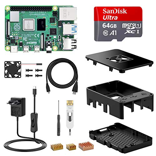 NinkBox Raspberry Pi 4 Model B 4 GB Super Kit mit 64GB Micro SD-Karte, originaler Raspberry Pi 4 Cortex A72 1.5GHz unterstützt Dual Display 4K/1000Mbps/Bluetooth 5.0 (Verbessertes Raspberry Pi 3)