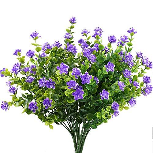 Joylora 10 Bündel Kleine Lila Künstliche Blumen Kunststoff Grüne Künstliche Pflanze/Sträucher Eukalyptus Zweig Artificial Greenery für Garten Büro Hause Fenster Hof Hochzeit Freien Innen Deko
