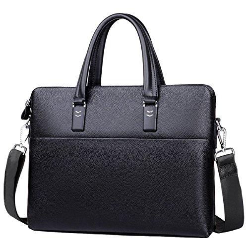 Beiläufiges Geschäft Draußen Männliche Beutelleder-Computer-Aktenkoffer-Handtasche Kurierbeutel-Schulterbeutel Black