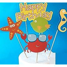 5x piezas bajo el mar peces, Caballito de mar, cangrejo, estrella pescado decoración de tarta para cumpleaños