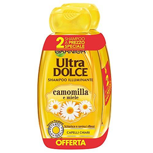 Garnier Ultra Dolce Shampoo all'Estratto di Camomilla e Miele per Capelli Chiari, Senza Parabeni, Estratto Naturale,300 ml [Confezione da 2]