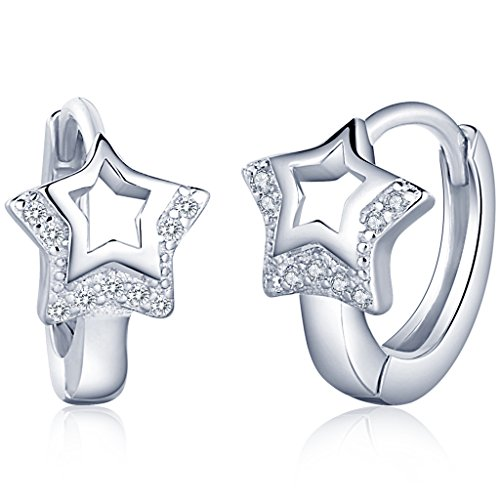 Unendlich U Fashion Hohl Stern Damen Creolen 925 Sterling Silber Zirkonia Ohrringe Ohrhänger Ohrschmuck Earring, Silber