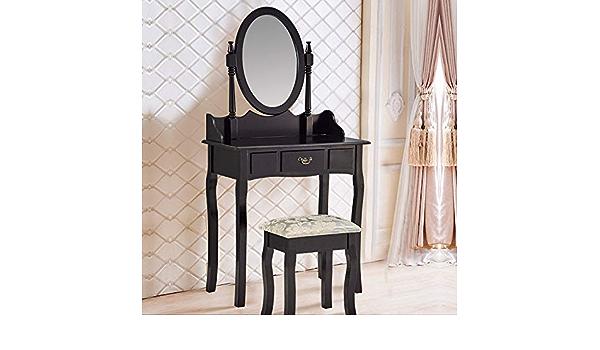 GSFZ Vanity Set con Sgabello,Tavolo da Trucco,Scrivania di Com/ò con Cassetti,Banco di Vanit/à Trucco con Specchio Scorrevole,Tavolo Vanit/à