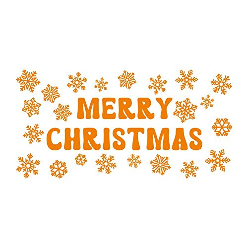 lepni.me Wandaufkleber Merry Christmas Sign Snowflakes Stickers Christmas Decor (Orange)