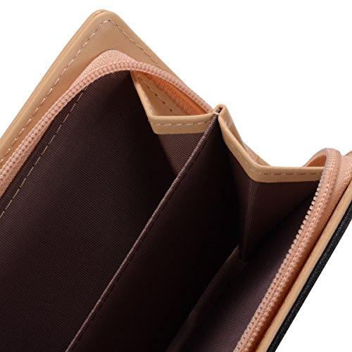 Abbigliamento donna borsa in pelle di moda portafogli foglia d'oro Hollow grande capacità borsa Portafoglio (Blu) Nero