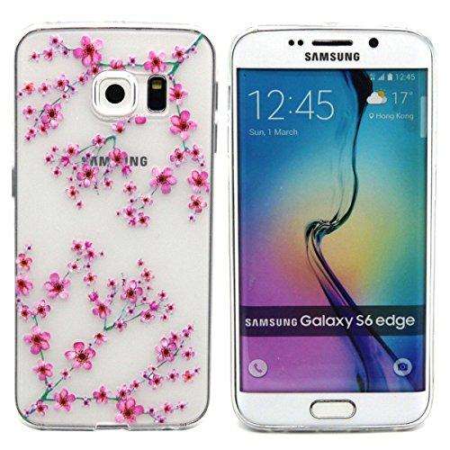 Coque pour Samsung Galaxy S5, Clair Housse en Soft Doux TPU Gel Silicone pour Samsung Galaxy S5, Ekakashop Samsung Galaxy S5 Flexible Souple Cas Back Case Cover de Protection, Ultra Slim Créatif Dessi Prune Fleur Pink