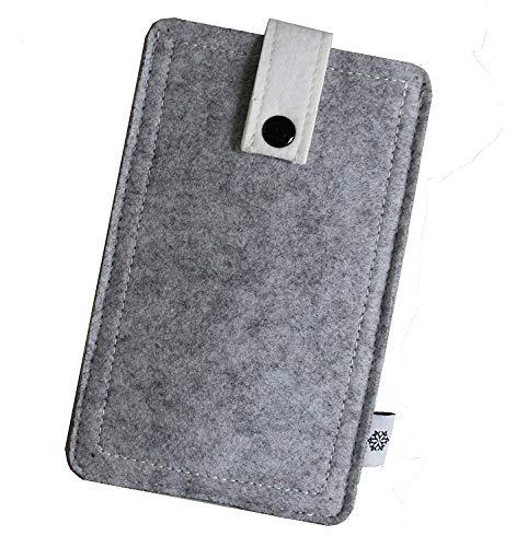 Dealbude24 Filz Tasche passend für HTC One X9, Hochwertige Handy Hülle, Schutz Cover mit Herausziehband und Drucknopf, reißfestes Schutz Etui in Hell Grau - XL