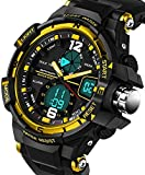 Sanda Digital Analog Watch Military Sport Outdoor Big Face Black Mens Wrist Watches Gold