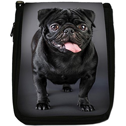 Asiatica carlino Dogs in porcellana Love, colore: nero, Borsa a spalla in tela da uomo, taglia media Happy Black Pug
