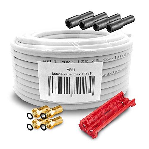HD Sat Kabel 15 m Koaxialkabel 135 dB + Kabelmesser + 4 x F-Stecker vergoldet + 4 Gummitülle Koaxial 5-fach geschirmt Satkabel TV Antennenkabel Koax 4K gold F-Stecker ARLI
