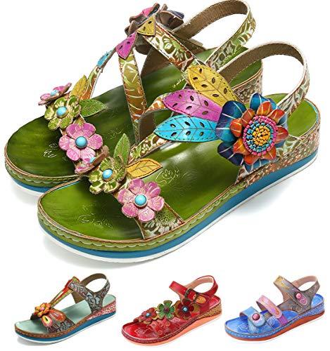 Leder Flache Schuhe (Camfosy Damen Leder Wandern Sandalen,Sommer Outdoor Handgefertigt Sandalen Flach Urlaub Freizeit Schuhe Verstellbare Klettverschluss Gemütliche Barfuß-Gefühl Wanderschuhe)