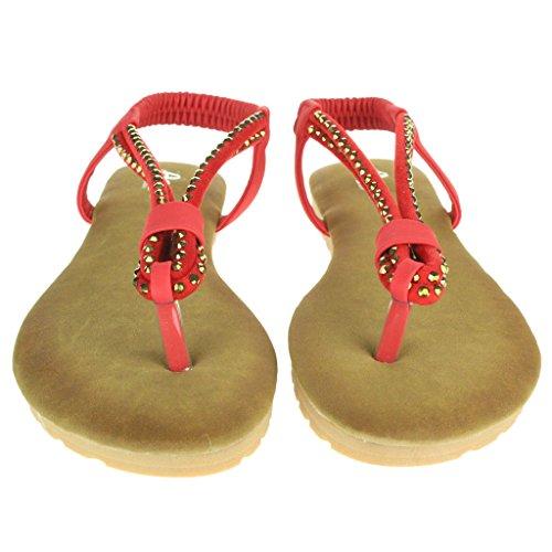 Frau Damen Diamante Zehenpfosten Slingback Sommer Strand Beiläufige Party Komfort Flache Sandale Schuhe Größe Rot