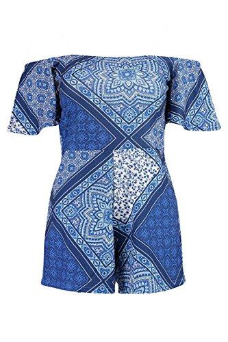 Bleu Femmes Jen Tile Print Off Shoulder Playsuit Bleu