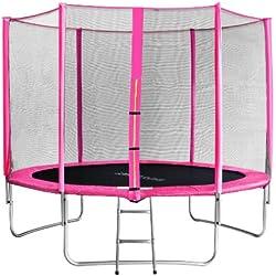SixBros. Sixjump 3,05 M Trampoline de Jardin Rose - Filet de sécurité - Échelle - Housse de Protection TP305/1694