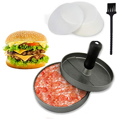 Joyoldelf Aluminium Hamburgerpressen Set, Premium Burgerpresse - Hamburger Presse Burger Hersteller für perfekte Burger, BBQ, Hamburger, Patties, Presse, Grill aus Aluguss