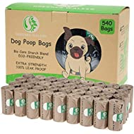 Greener Walker Poo Bags for Dog Waste, 540 Poop Bags,Extra Thick Strong 100% Leak Proof Biodegradable Dog Poo Bags (Brown)