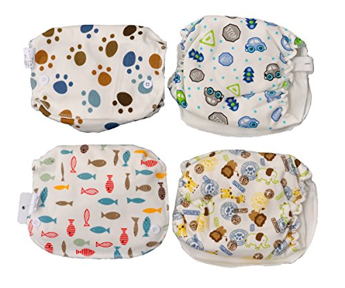 Jiexi-4PCS-624MonthBaby-Infant-Pure-Cotton-Soft-Diaper-Nappy-Washable-Waterproof-Adjustable-Reusable