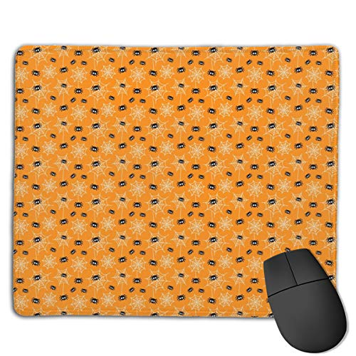 Tiny Spiders and Webs On Orange 禄 Halloween Computers Thick Keyboard Non-Slip Rubber Base Mouse pad Mat 7 X 8.6 inch (Window Magic Halloween)
