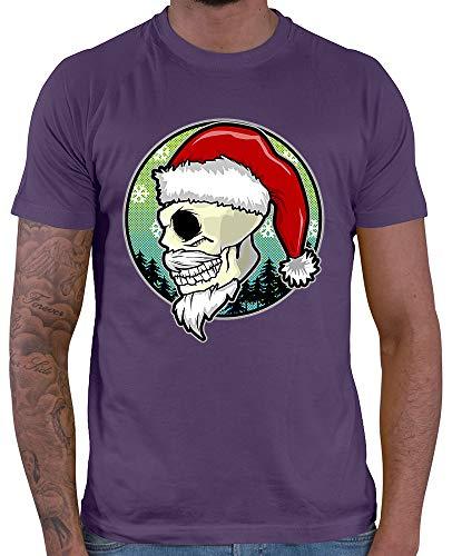 HARIZ  Herren T-Shirt Weihnachten Totenkopf Mütze Weihnachten Weihnachts Geschenke Winter Inkl. Geschenk Karte Lila L