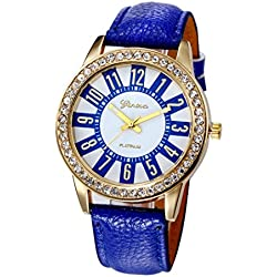 WINWINTOM Women Stainless Steel Analog Leather Quartz Wrist Watch Navy Blue