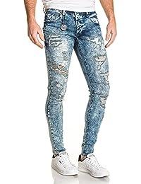 Project X - Jeans fashion bleu délavé destroy homme