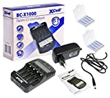 Akkuman.de Set BC-X 1000 Schnellladegerät mit LCD-Display + 8X eneloop AAA Akku 1,2V 2000mAh + 2X Box