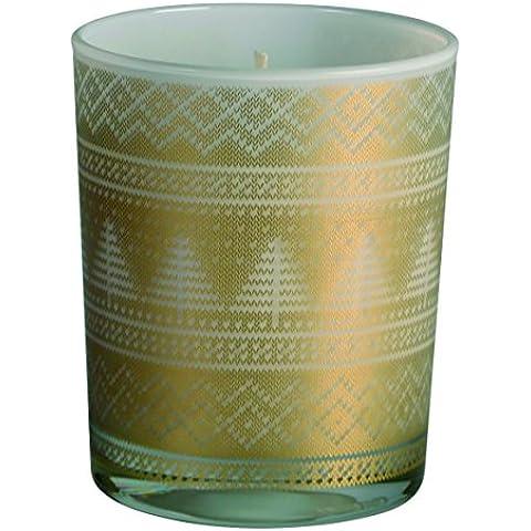 Vela navideña. Vela vaso árbol de navidad.Vela de cera vegetal. El soporte de esta vela es un vaso con abetos y cenefas navideñas en color dorado. La vela es de cera. Medidas de la vela vaso árbol de navidad, 7,5 x 9 cm de alto.