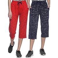 Shaun Women's Capris (106W2RN46a_Red Dark Blue_XXX-Large)