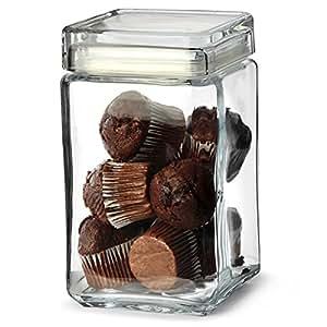 landmark aufbewahrungsglas f r kekse aus glas mit deckel quadratisch 1 5 l. Black Bedroom Furniture Sets. Home Design Ideas
