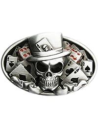 B70 Boucle de ceinture Skull Poker carte à jouer 945a507fe76