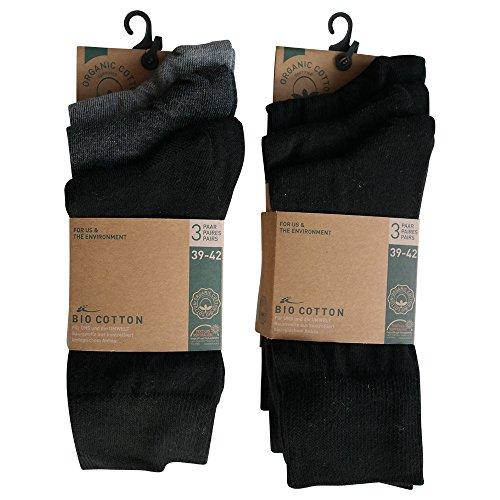 6 Paar Socken Bio 98% Baumwolle Organic Cotton Schwarz Grau ohne Naht