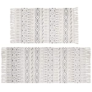 Pauwer Baumwollteppiche Set 2 Teilig mit Quasten Handgewebte Bedruckte Teppich/Matte Waschbar Rutschfest Bereich Teppich für Schlafzimmer, Küche, Waschküche, 60x90cm + 60x130cm