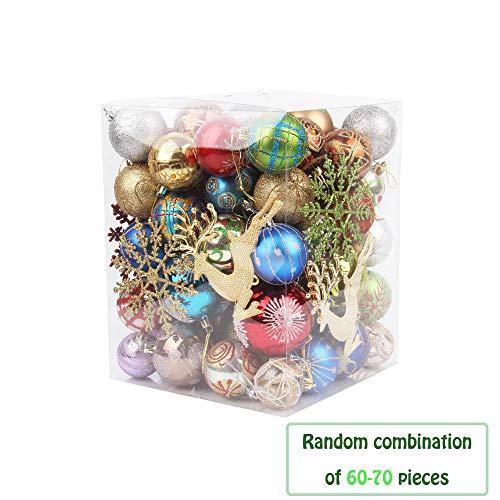 60-70 pezzi palline per albero di natale, morbuy palle di natale in plastica scatola porta applique ornamenti festa decorazioni natalizie albero palle per matrimoni (taglia unica)