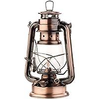 Lunartec Öllampe Petroleum-Sturmlaterne mit Glaskolben, Bronze, 24 cm (Petroleum Laterne)