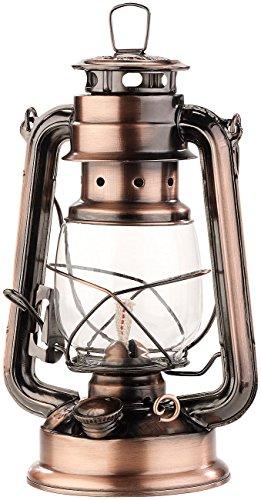 Lunartec Petroleum Lampen: Nostalgische Petroleum-Sturmlaterne mit Glaskolben, bronze, 24 cm (Laterne für Feuer)