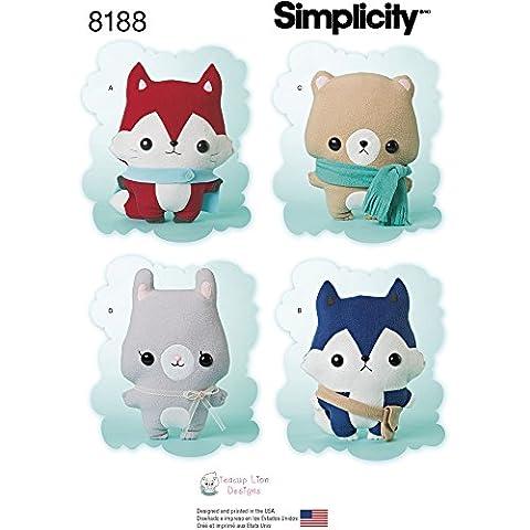 Simplicity 8188Patrons 'Renard en peluche, Loup, ours et lapin, Blanc