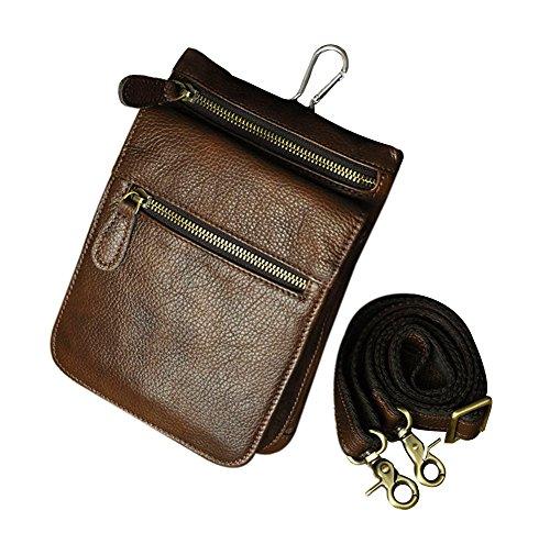 Genda 2Archer Herren Leder kleine Wandern Hüfttasche taktische Reisen Outdoor Gadget Tasche Umhängetaschen Gürteltasche (Braun 6553) Braun 6551