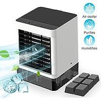 Climatiseur Portable, 3 EN 1 Refroidisseur D'air Portable USB Ventilateur Réglable Mobile Mini Air Cooler Humidificateur Purificateur Personnel pour Maison/Bureau