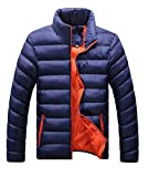 Herren Verpackbar Stehkragen Leicht Warmer Winter Jacken Puffa Gepolstert Mantel (XXXL, blau orange)