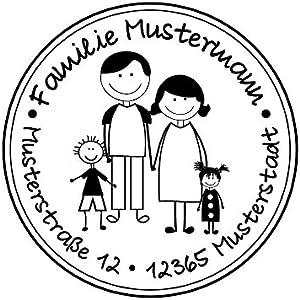 Familienstempel   Personalisierter Adressstempel mit Familienname und Adresse   Eltern mit 1 Jungen und 1 Mädchen