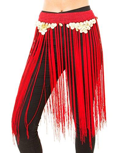 Bauchtanz Kostüm Fransen - Turkish Emporium Bauchtanz Kostüm Hüfttuch Hüftgürtel Münzgürtel mit Fransen (Rot)