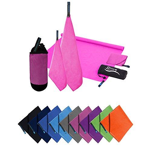 Microfaser Handtücher | 70x140cm + 30x50cm | Mikrofaser Handtuch schnelltrocknend Badehandtuch Reisehandtuch für Camping & Outdoor | Badetuch | Sport-Handtuch 2er Set Pink inkl. Tragetasche