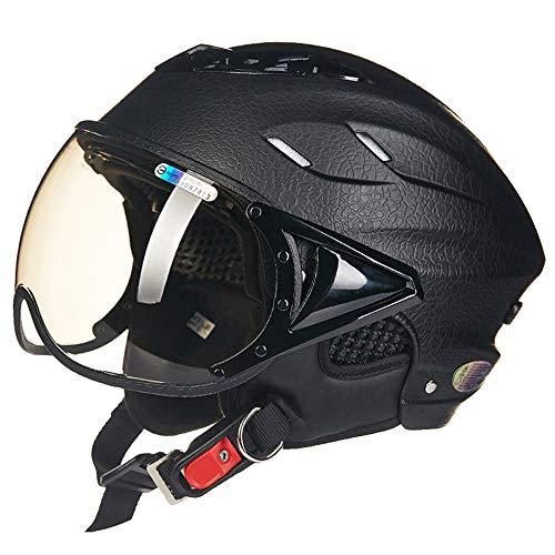 FLYFEI Mezzo Casco per Motociclista AdultoCasco Moto Apribile Estivocon Sun VisorGrano di CuoioJet Pilot Helmetper Vespa Moped CruiserBambini Uomini DonneFormato Nero: 55-60Cm