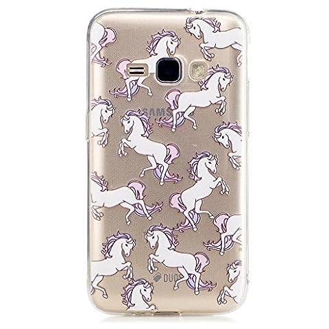 MUTOUREN Samsung Galaxy J1 (2016) 120F Coque Etui TPU, Whitehorse Design Mince Cover Case Coquille Housse Média Stand de Fente pour Carte Bumper Protecteur Skin Poche