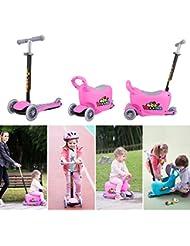Fascol Patinete Scooter Multifunción 3 en 1 de 3 Ruedas con Silla para 1 a 10 Años Niños Max carga 50 kg,Rosa