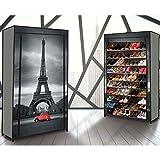 """IDMarket - Étagère range chaussures 50 paires ECO avec housse imprimé """"Paris"""""""