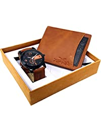 XPRA Analog Watch, Blue & Black Card Removable Genuine Leather Wallet For Men/Boys Combo (Pack of 2) - (WCH-WL-24)