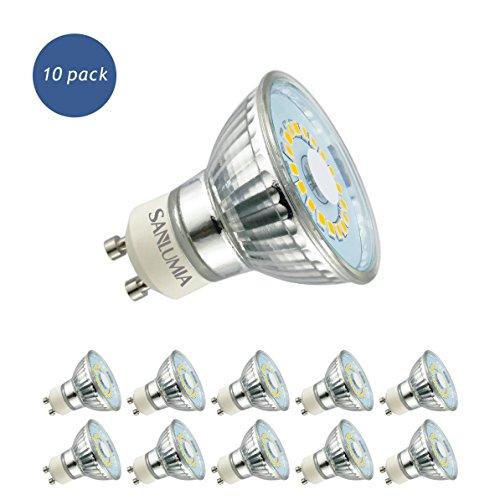 Sanlumia Bombillas LED GU10, 5W = 50W Halógena, 450Lm, Blanco Neutro (4000K), 120 ° ángulo de haz, Iluminación de Techo para Cocina, Oficina, o Baño, Paquete de 10