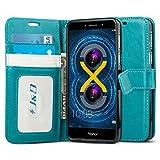 J & D Honor 6X Hülle, [Handytasche mit Standfuß] [Slim Fit] Robust Stoßfest Aufklappbar Tasche Hülle für Huawei Honor 6X - Türkis